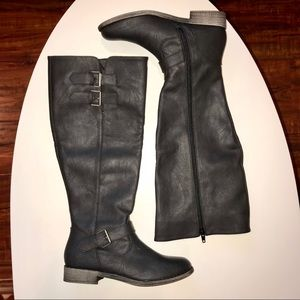 Faux leather tall boots with buckle accents!